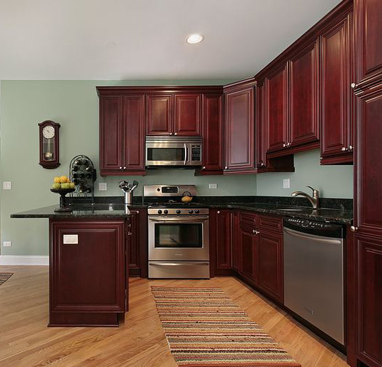 Natural maple kitchen cabinets discount maple kitchen for Cherry kitchen cabinets wall color